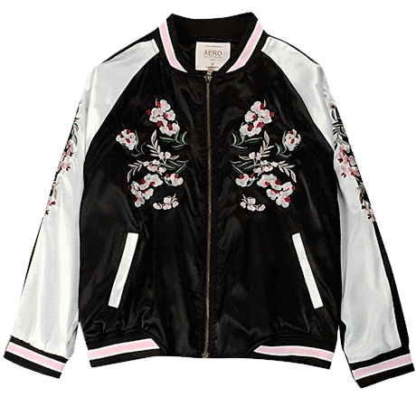 9898b1849 itGirl Shop CHINA FLORAL EMBROIDERY SILK BOMBER JACKET Aesthetic ...