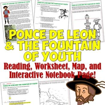 ponce de leon and the fountain of youth reading worksheet and activity american history. Black Bedroom Furniture Sets. Home Design Ideas