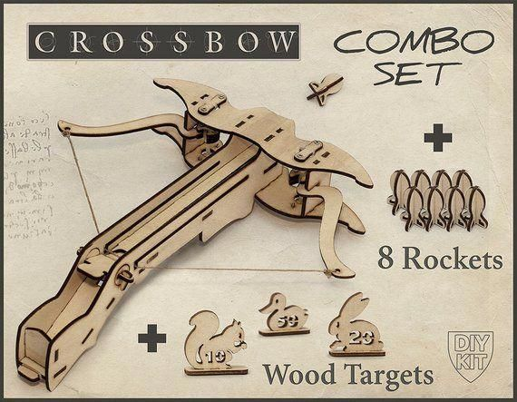 Mens Christmas Gift, Wood Crossbow DIY Kit With targets Gift For