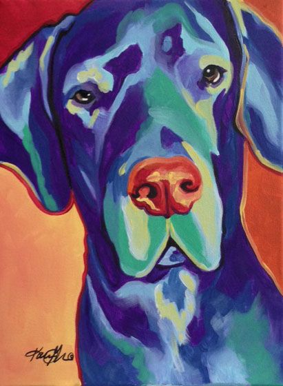 Gus The Great Dane Was An 11x14 Pop Art Commission On Canvas More