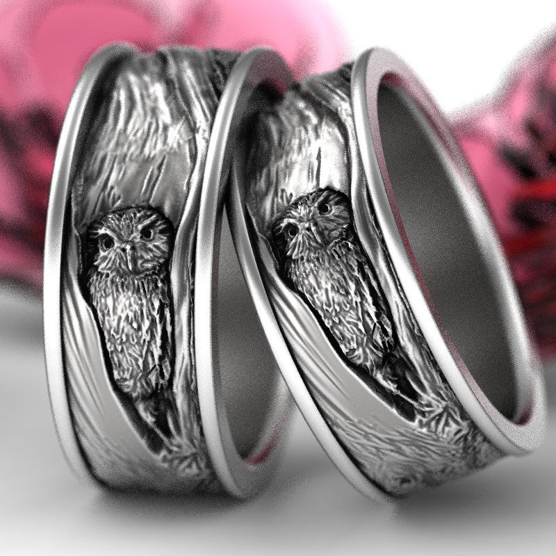 Sterling Silver Owl Wedding Ring Set Owl Wedding Bands Tree Etsy In 2020 Owl Wedding Ring White Gold Engagement Rings Vintage White Gold Vintage Rings