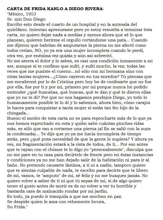 Carta De Frida A Diego México 1953 Frase De Frida Kahlo Cartas De Frida Kahlo Frases De Frida