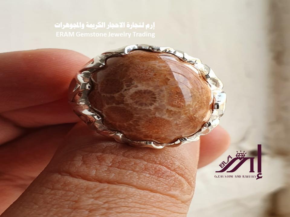 خاتم ملكي رجالي مرجان مميز طبيعي100 Coral للعرض Silver Rings Silver Jewelry