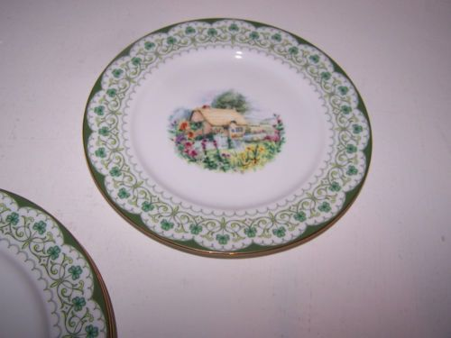 Franklin mint dinnerware celtic cottage irish salad plates set of four unused 8  & Franklin mint dinnerware celtic cottage irish salad plates set of ...