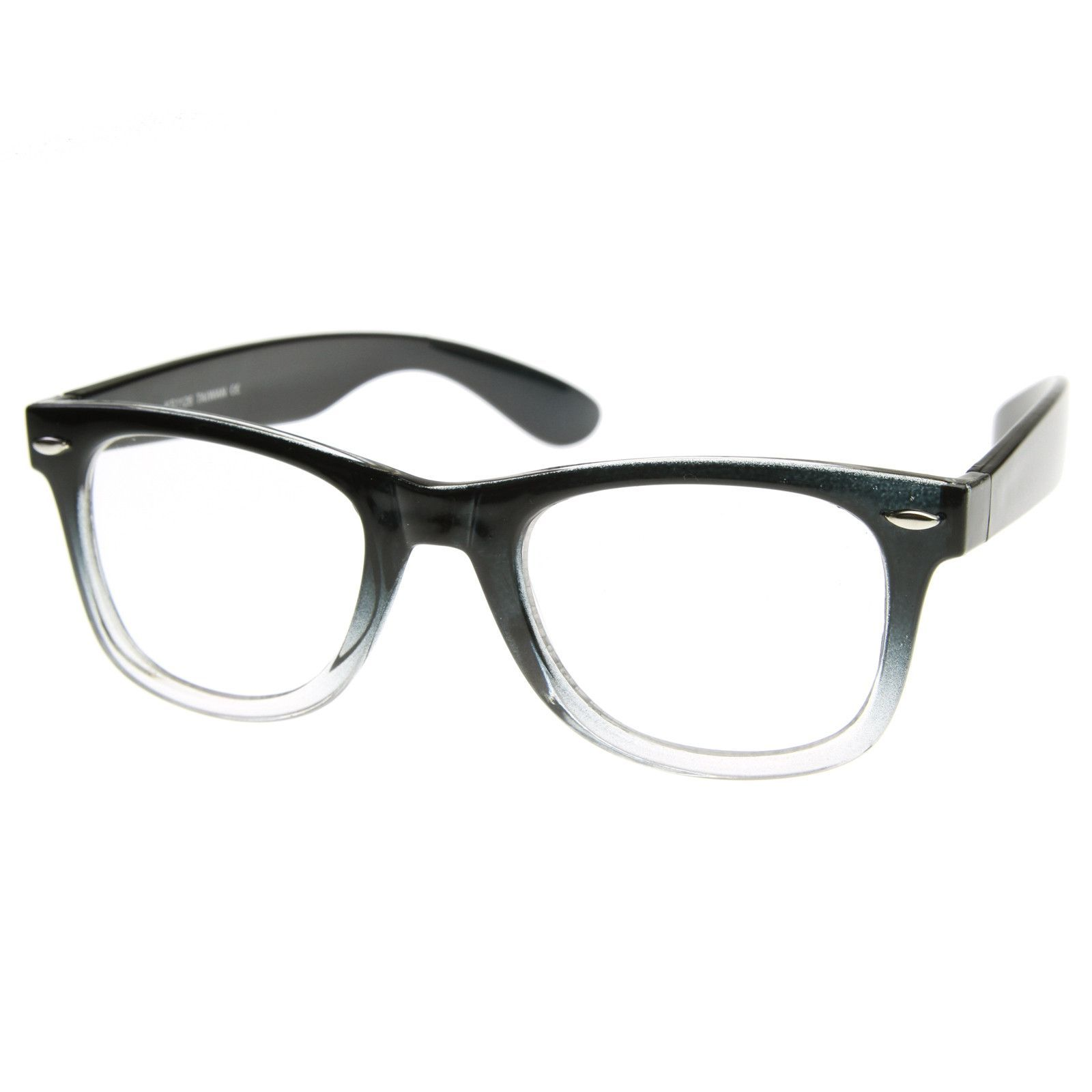 6a1bf13e6873 Popular retro two tone clear faded horned rim clear lens glasses. Popular  during…