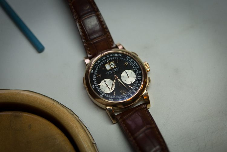 """Philippe Dufour's personal A. Lange & Sohne Datograph in pink gold - he says he bought this watch because he """"couldn't afford it in platinum."""""""