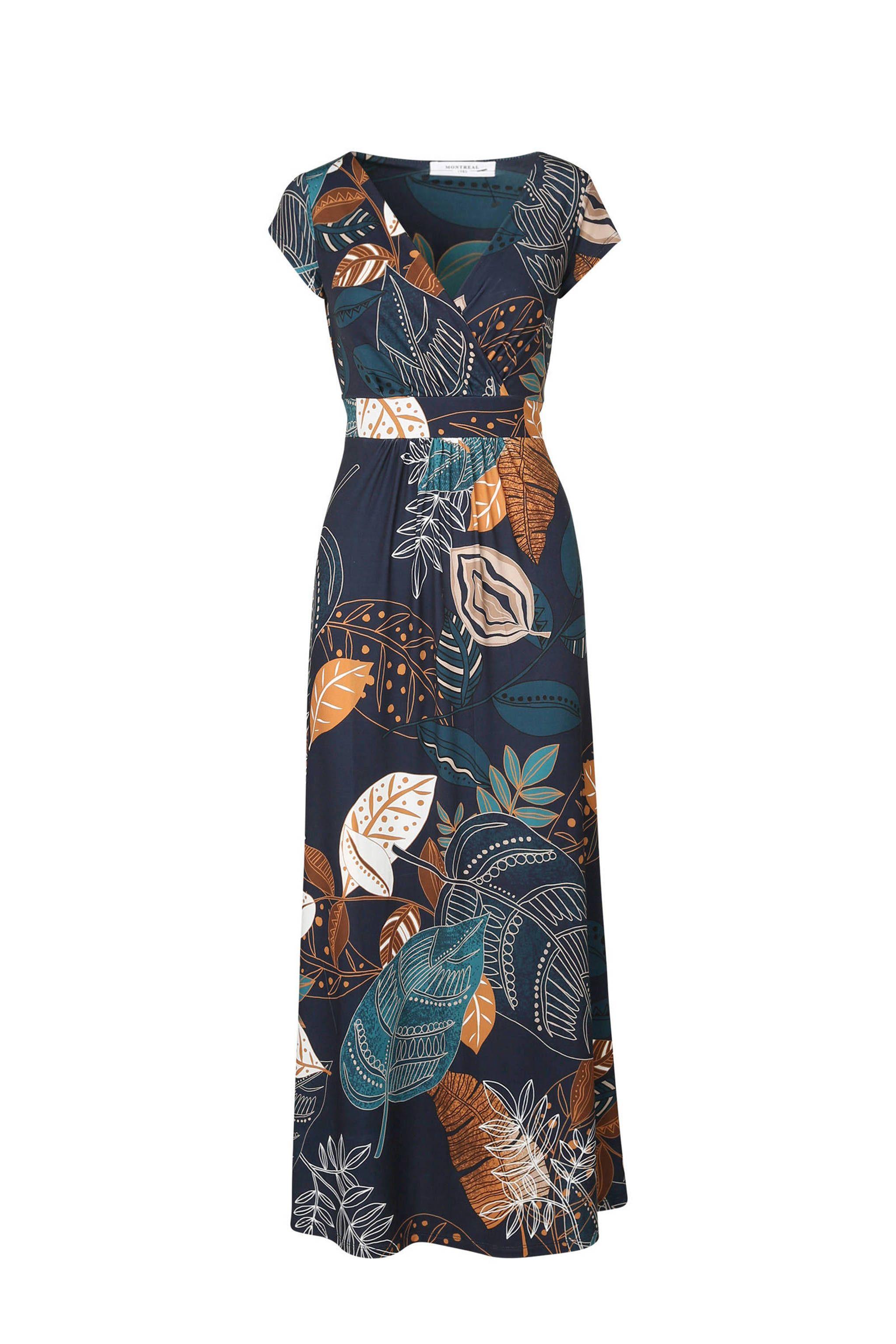 e8d4d5ff8a6fb4 Cassis maxi jurk met overslag marine in 2019