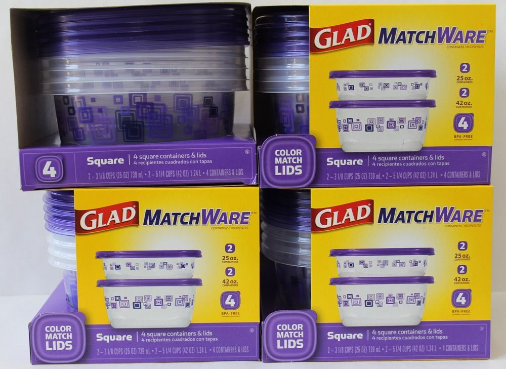16 glad food containers match ware square interlocking