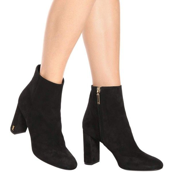 fd8ab755300 Saint Laurent Loulou 70 Suede Ankle Boots ( 965) ❤ liked on Polyvore  featuring shoes