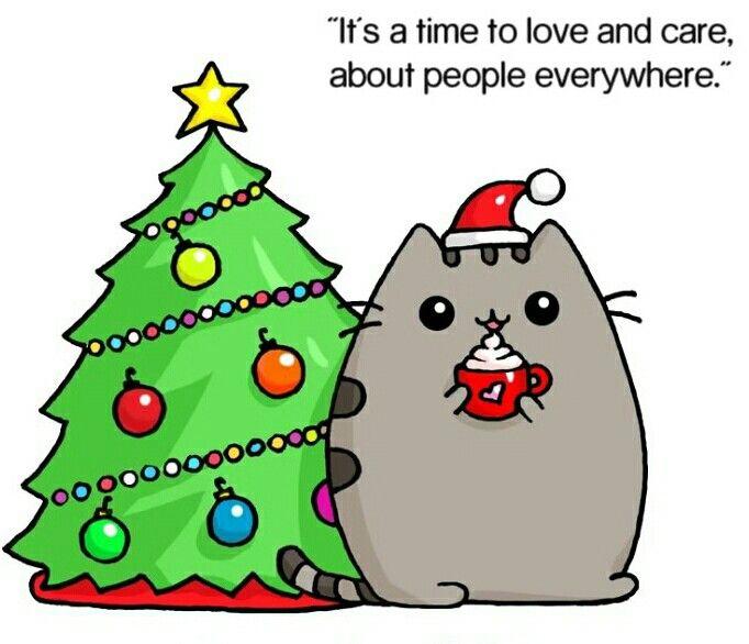 Картинки новогодних котов для срисовки