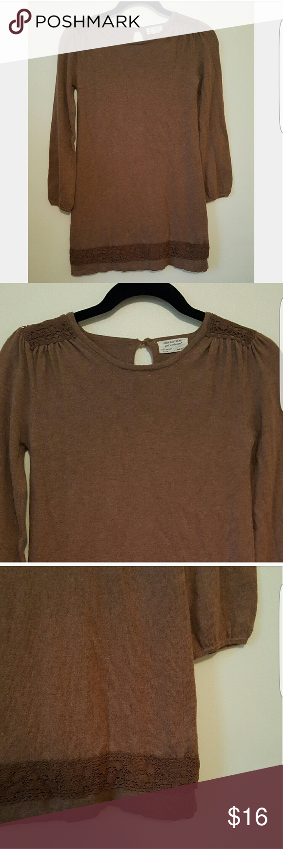 Girls Zara Knit Brown Tunic Sweater Cute tunic sweater! Gathered ...