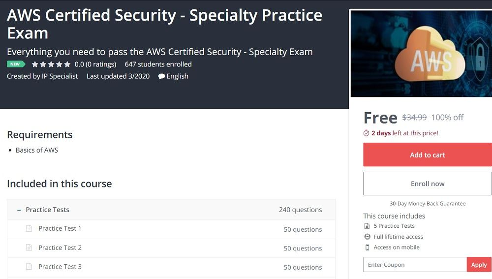 Aws certified security specialty practice exam in 2020