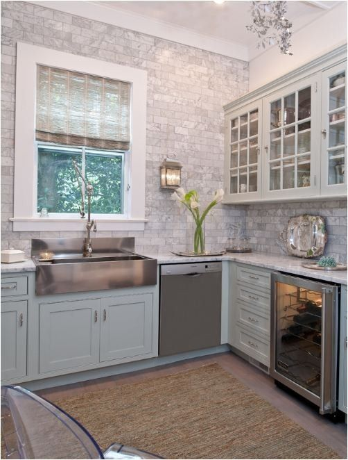 Gray Brick Backsplash Endearing Stainless Steel Farmhouse Style Kitchen Sink Inspiration  Grey Inspiration Design