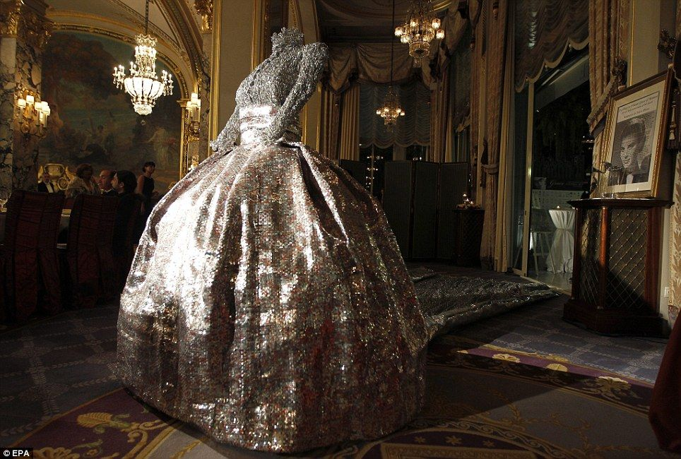 Iconic: The sculptural costume created by Greek designer Nikos Floros inspired by the wedding dress worn by Grace Kelly for her marriage to Prince Rainier of Monaco during the gala of the Princess Grace of Monaco Foundation, in Monaco.