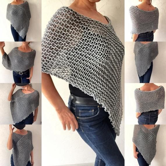 This gray poncho is a fantastic addition to your wardrobe for those cool days and evenings when a jacket just wont do. It is made of a gray arcylic and wool yarn.  I can make it any color you like Just convo me about the color you want and I wil send you the different shades of that color for you to