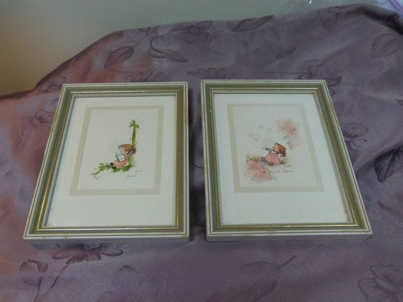 Original Watercolors Signed Corbett Young Girls by Lynnestreasures