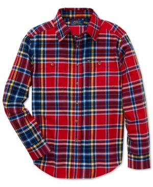 df6fec79e Polo Ralph Lauren Big Boys Cotton Twill Workshirt - Red Multi S (8 ...
