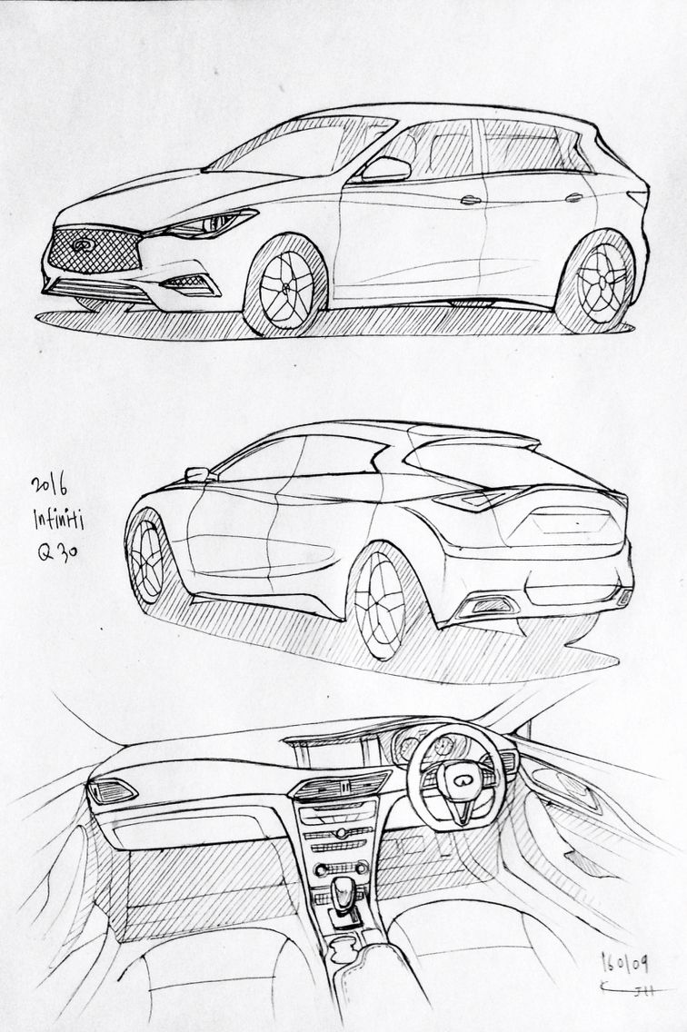 Car drawing 160109. 2016 Honda Infiniti Q30. Prisma on paper. Kim ...