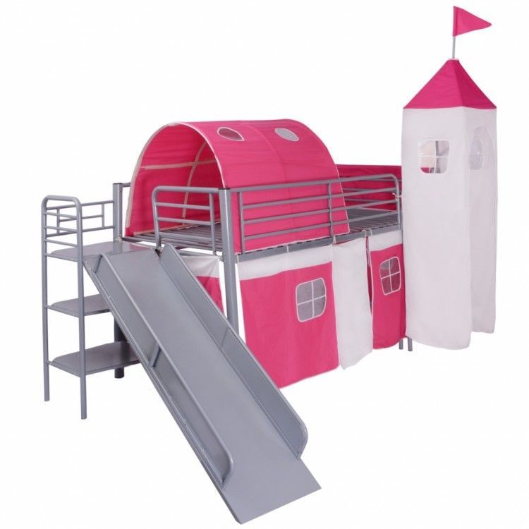 Childrens Loft Bed Steel Slide Ladder Castle Themed Pink Tent Bunk Bedroom Home #ChildrensLoftBed