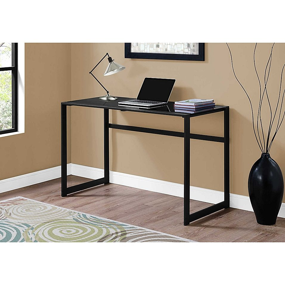 Monarch Specialites 48 Inch Tempered Glass And Black Metal Computer Desk Bed Bath Beyond In 2021 Metal Computer Desk Glass Computer Desks Glass Top Desk