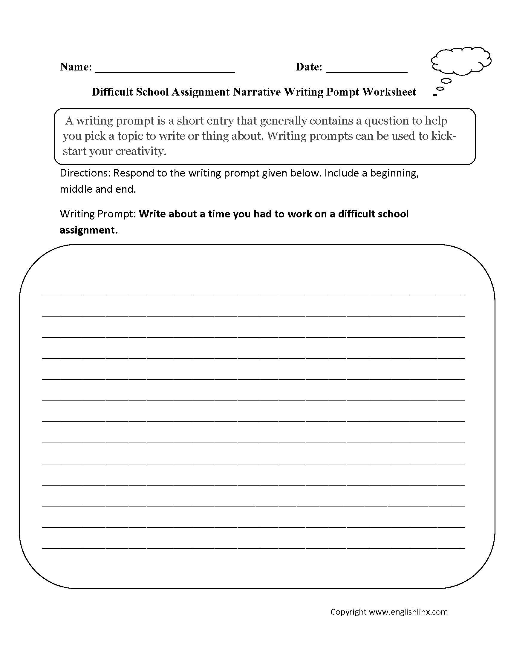 School Narrative Writing Prompt Worksheet