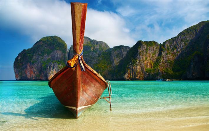Lataa kuva Phi Phi-Saaret, meri, ranta, vene, Thaimaa, Phuket, matka