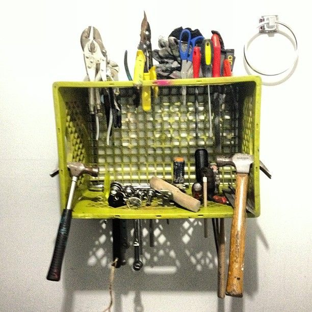 Simple way to organize tools mount a milk crate directly for Re storage crate