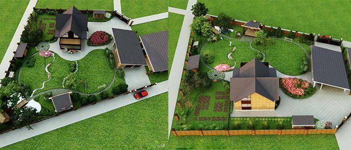 Дизайн участка частного дома 15 соток фото