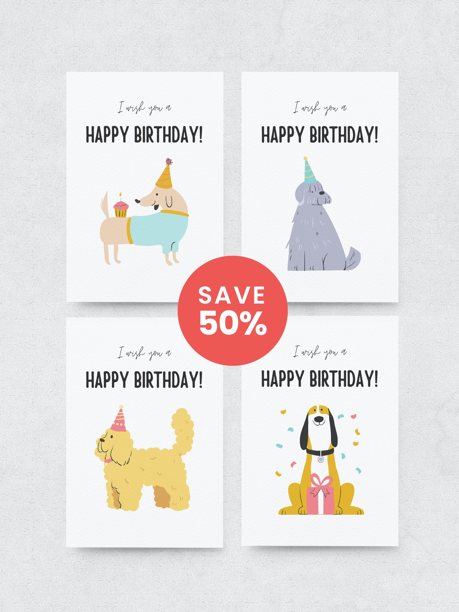 Printable Birthday Card Birthday Card Diy Dog Birthday Card Etsy