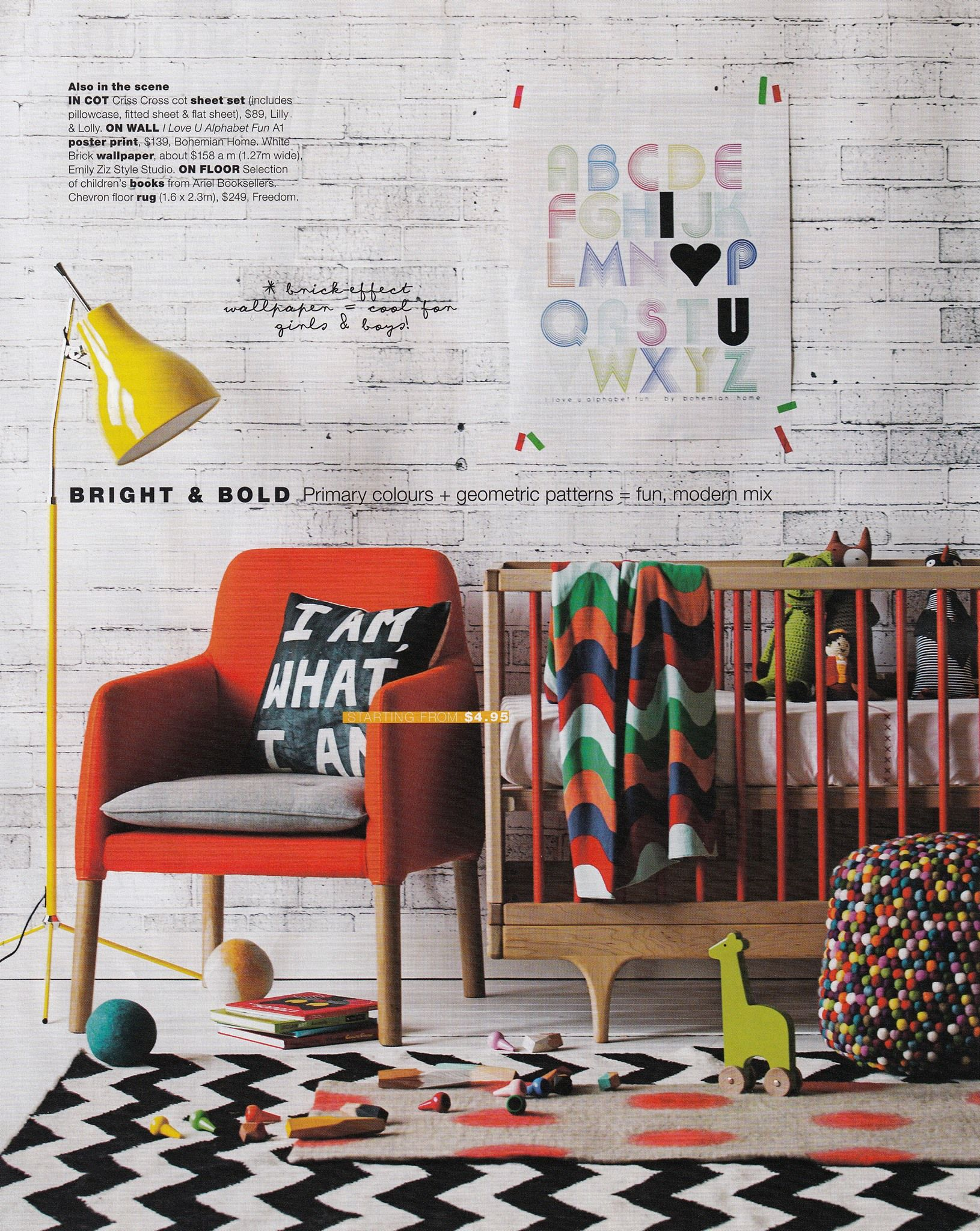 Bright bold modern baby nursery via real living magazine