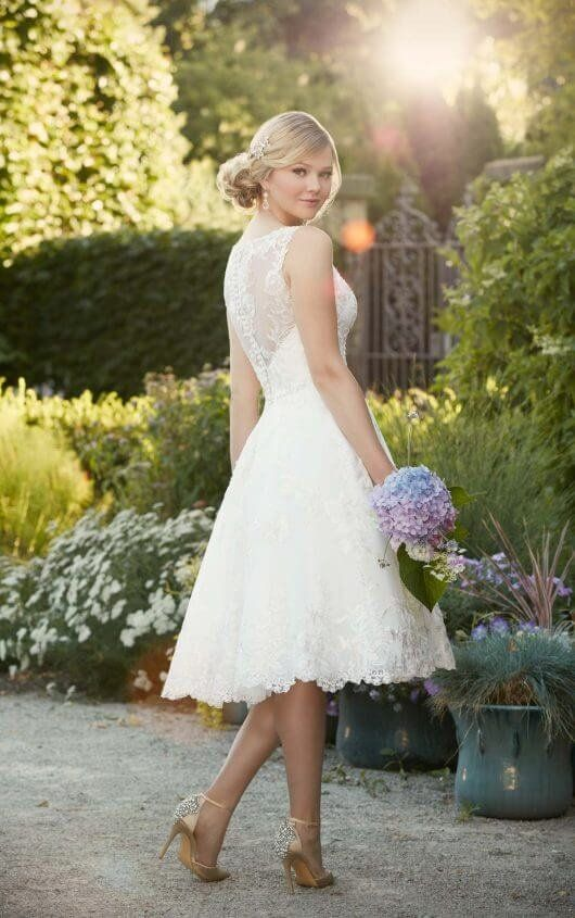 D2101 Embroidered Knee-Length Wedding Gown by Essense of Australia ...