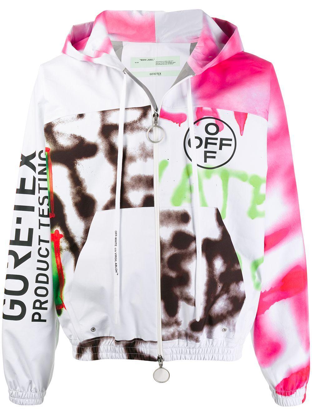 Off White Graffiti Motifs Hooded Jacket Farfetch White Windbreaker Off White Hoodie Jackets [ 1334 x 1000 Pixel ]