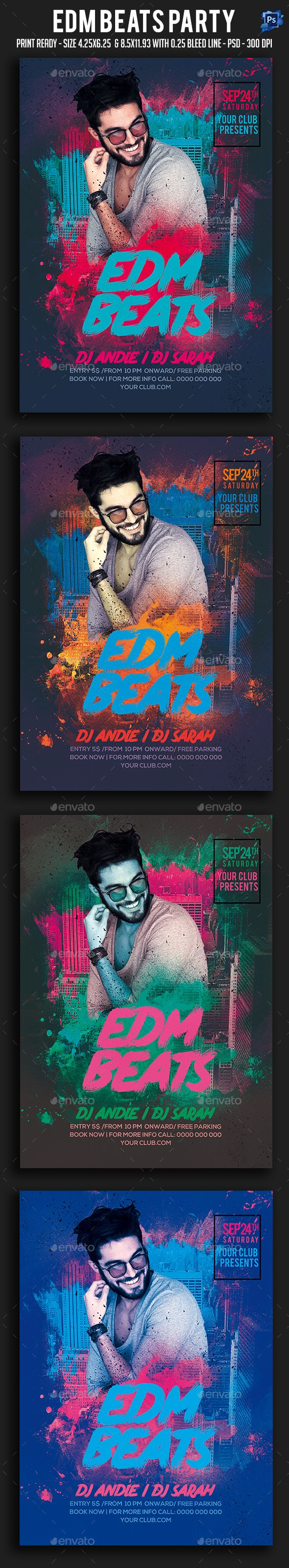 Edm Beats Party Flyer It¡¯s unique flyers, poster design for your business Advertisement purpose. All Elements are in individual layers and all text is editable! Easy to customize & edit & Available for 2 sizes as require most customization highlight colors. Pr