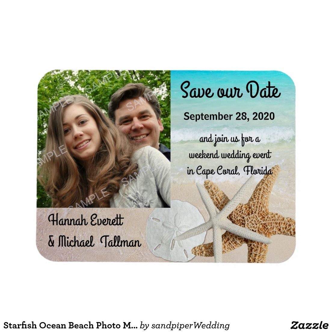 starfish ocean beach photo magnetic save the date magnet save the