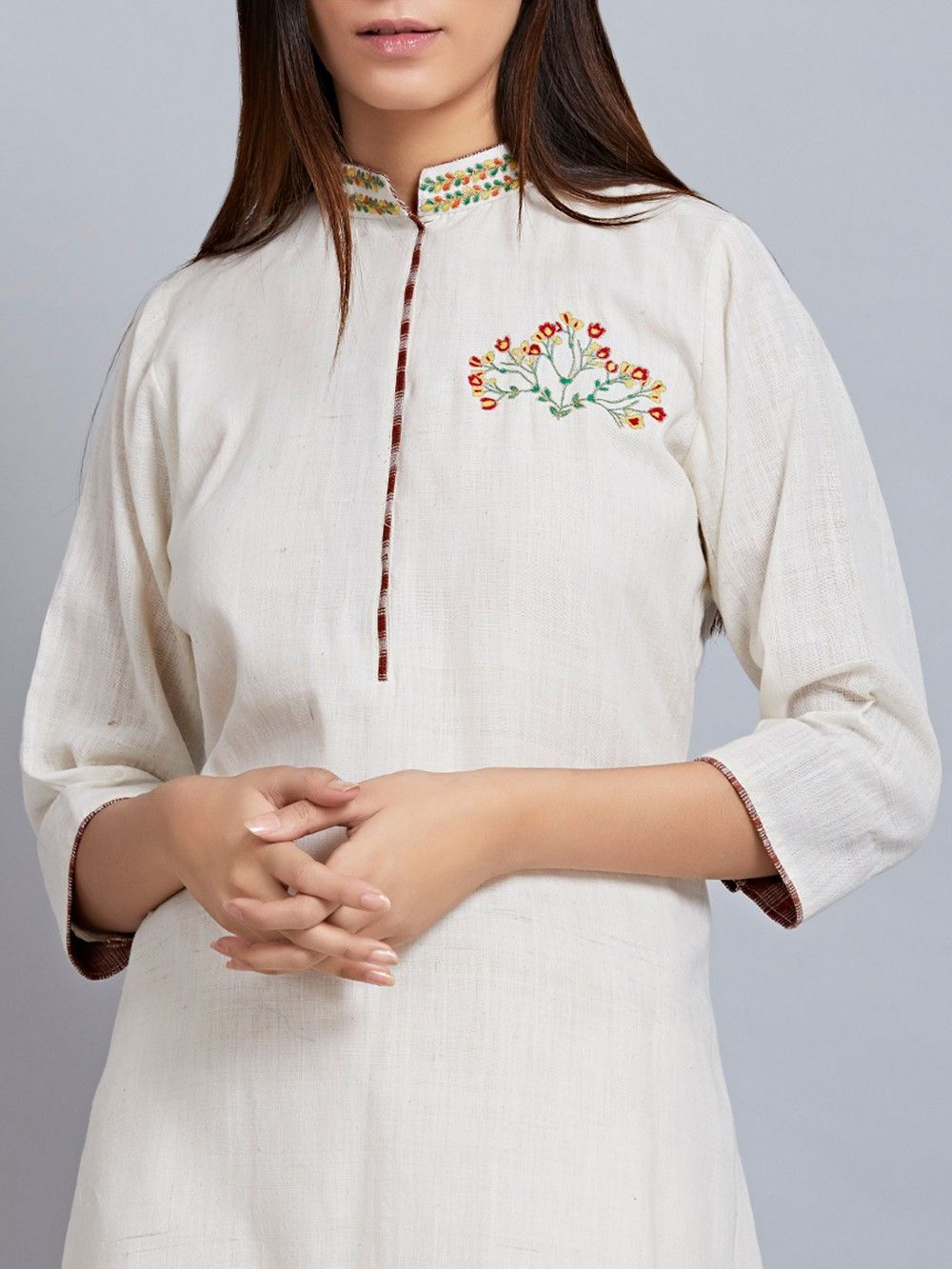 Buy Off White Khadi Cotton Embroidered Kurta online at