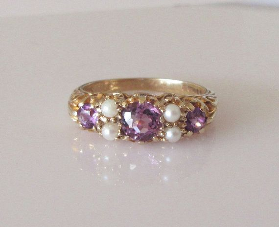 Amethyst and Pearl 9ct Gold Ring Size R by Britishgoldandsilver