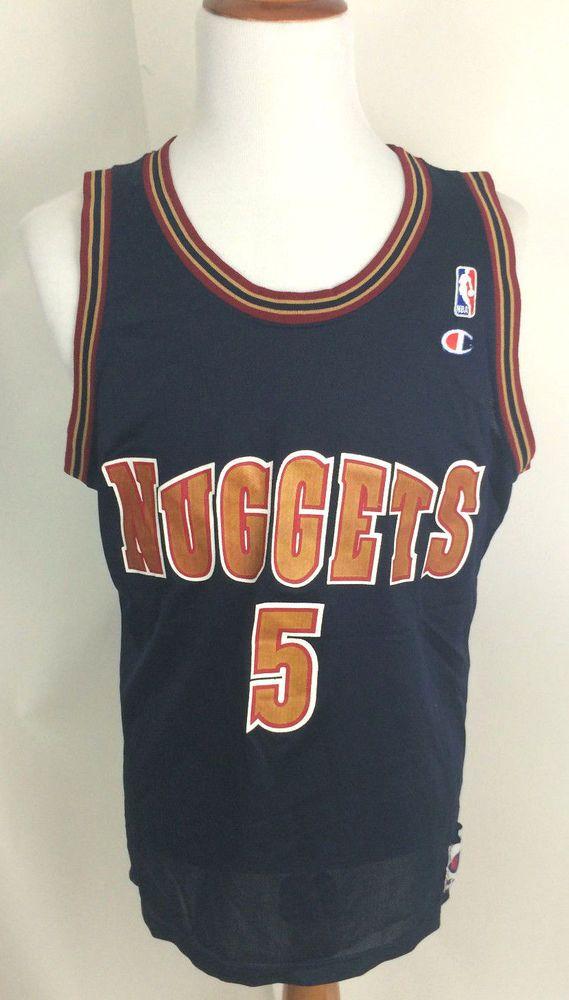 Vintage Jalen Rose Champion Jersey Denver Nuggets 48 XL NBA Away Blue GTGTPWTW #Champion #DenverNuggets