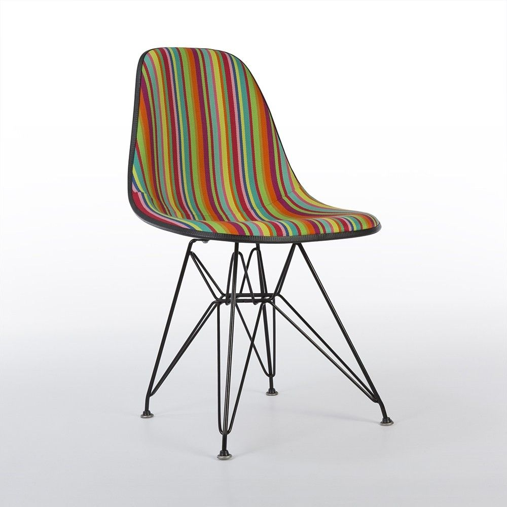 Vintage Eames Eiffel Chair With Miller Stripe Alexander Girard Upholstery