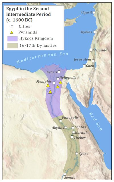 Egypt BCE The Second Intermediate Period Marks A Period - Map of egypt 1300 bc