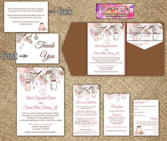 Rustic Mason Jar 5x7 Wedding Pocketfold Microsoft Word Template Blush Pink Chocolate Brown Invit Pocket Wedding Invitations Reception Card Grey Invitations