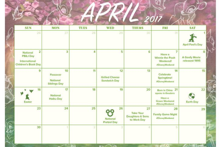 Print The April 2017 Calendar Disneyweekend To Do List Disney