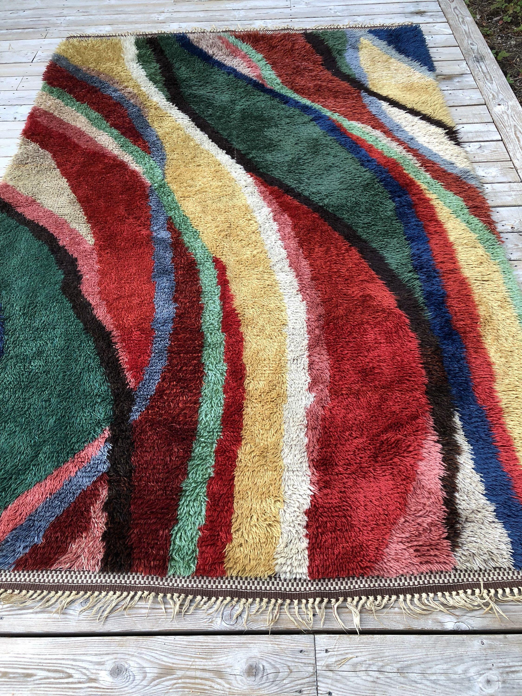 Modernist Wool Rya Rug Vintage Crafts