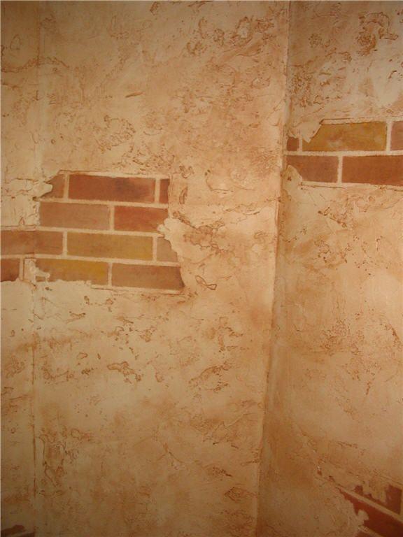 brick and plaster murals - Google Search Wohnzimmer Pinterest - wohnzimmer orange beige