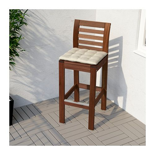Applaro Bar Stool With Backrest Outdoor Brown Stained Con Imagenes Mobiliario Para Fiestas Taburetes De Bar Muebles De Exterior De Paleta