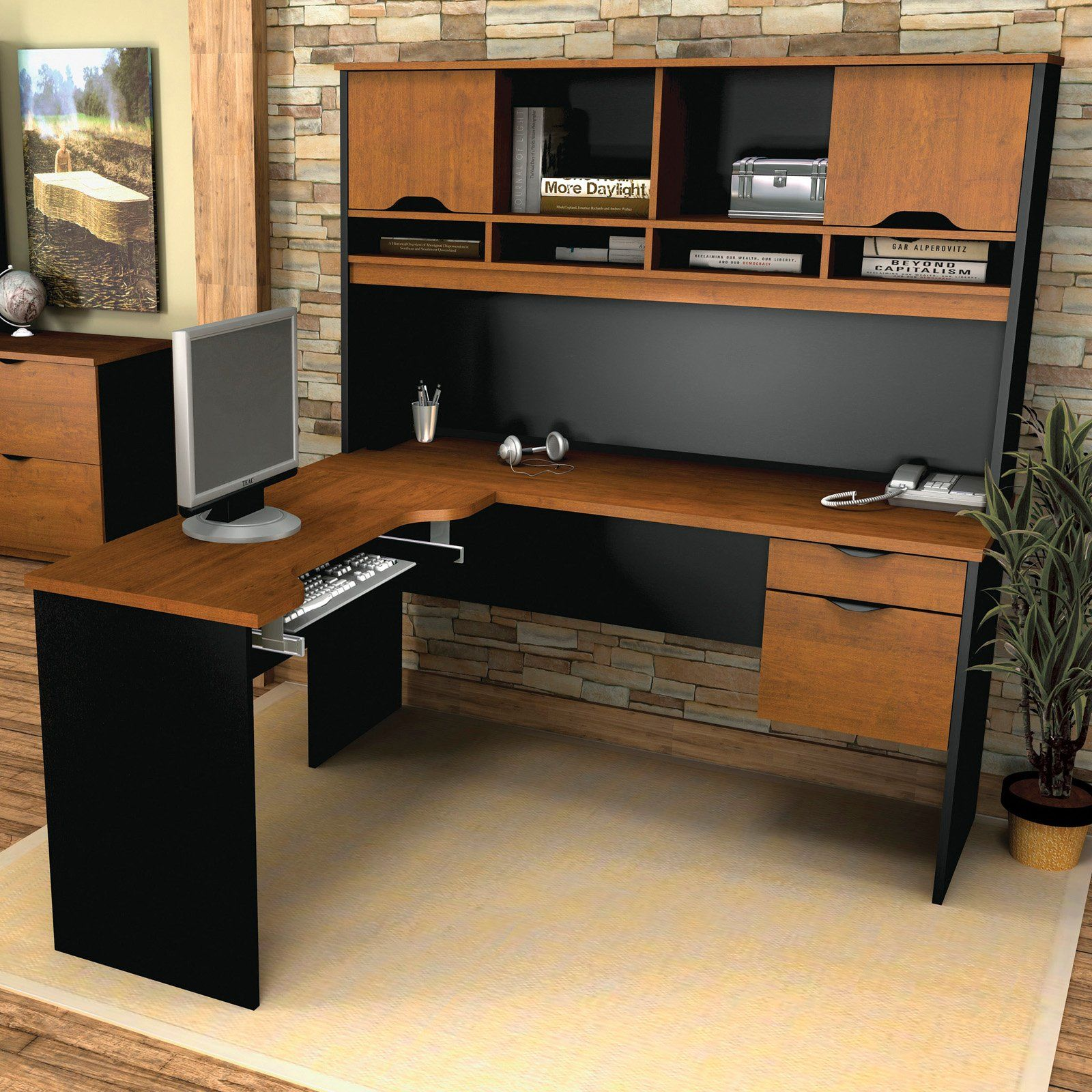 computer desk with all accessories workplace large modern