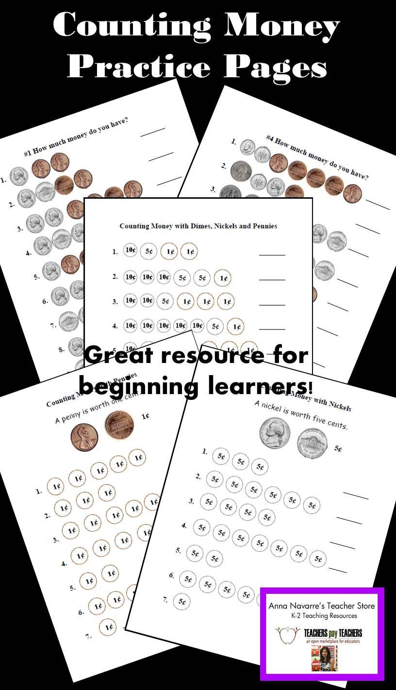 Money Worksheets W Pennies Nickels Dimes Quarters Money Worksheets Learning Money Resource Classroom