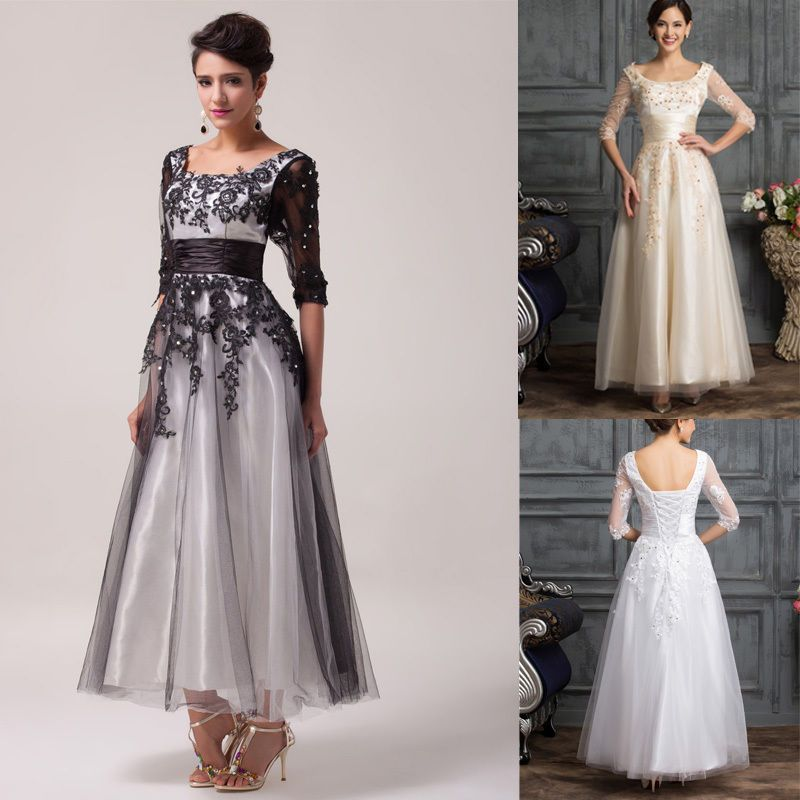 Vintage Black/White/Ivory Long Lace Wedding Prom Gown Bridesmaid ...