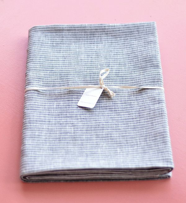 Attractive Fog Linen Grey White Stripe Large Tablecloth | Fog Linen, Products And Large