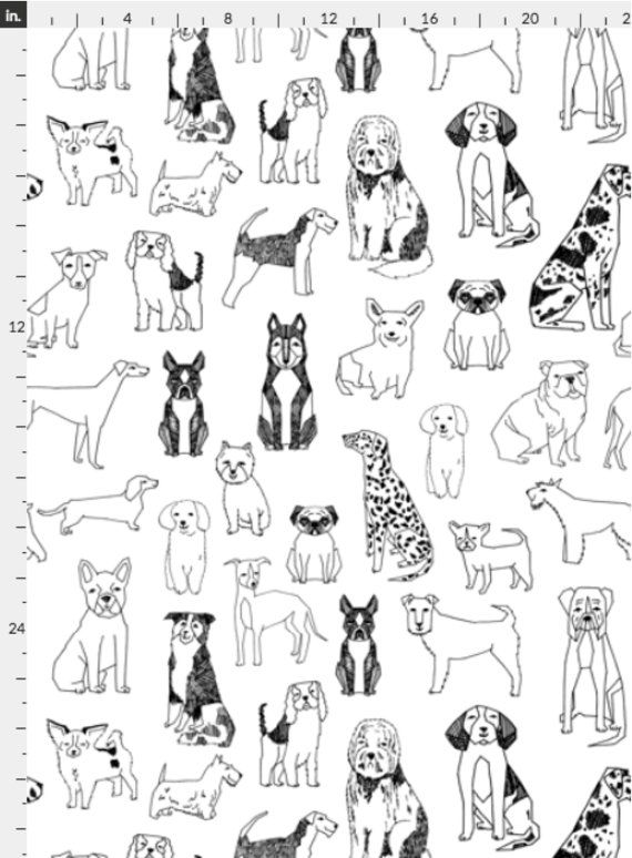 Dogs Wallpaper Black And White Illustration Pet By Andrea Etsy Dog Illustration Dog Background How To Draw Hands
