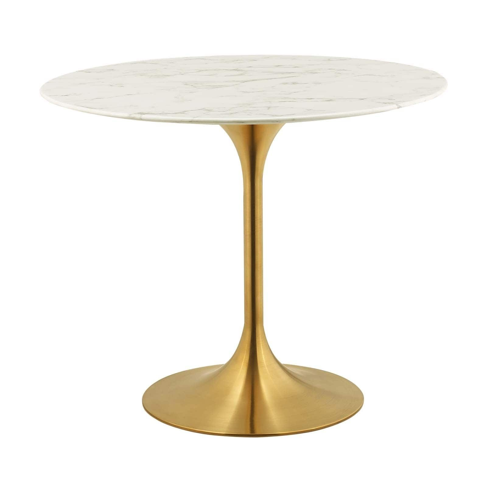 Lippa 36 Round Dining Table Gold White Modway Dining Table Marble 36 Round Dining Table Dining Table Gold